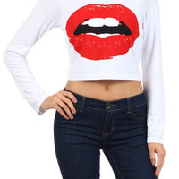 Red Lips Long Sleeve Crop Top