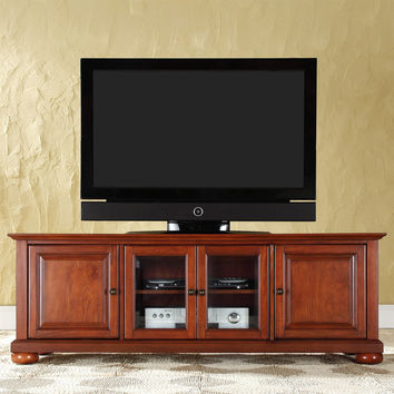 Classic Cherry Low Profile TV Stand with Raised Panel Doors