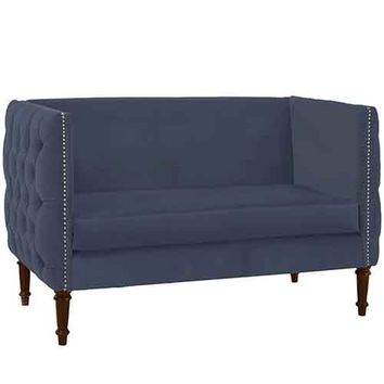 Skyline Furniture, Mfg. 5006NB-PWRGLOCN Regal Ocean Tufted Nail Button Settee