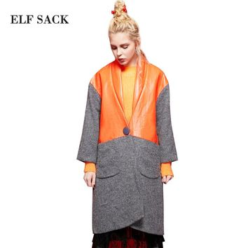 Elf SACK p Clacke for winter loose vent PU colorant match wool coat outerwear female long design