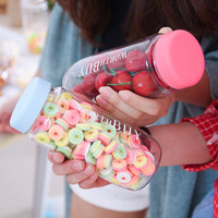 Candy Colored Plastic Kids Water Bottles Leak-Proof My Shaker Drinking Bottles With Portable Bag For Camping Sport Drinkware