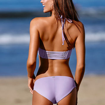 Lace-Up Bikini Bottom - PINK - Victoria's Secret