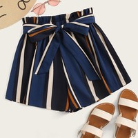 Paperbag Waist Striped Belted Shorts