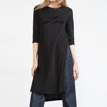 LONG T-SHIRT WITH SLITS