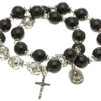 Sterling Silver Double Elastic Rosary Bracelet Onyx 10mm, 7 Sorrows Rosary and Trinity
