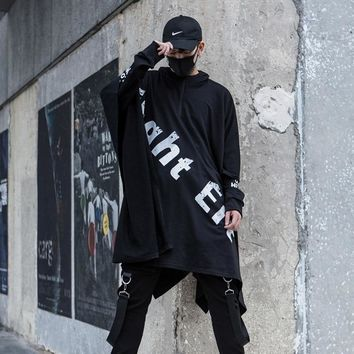 Mens High Street Hip Hop Punk Hoodie Loose Shawls Jacket Oversized Male Fashion Casual Hooded Sweatshirt Cloak Stage Costumes