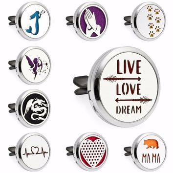 Live Love Dream Dragon Mermaid Heart 30mm Magnet Essential Oil Aromatherapy Perfume Car Diffuser Locket Vent Clips 10pcs Pads