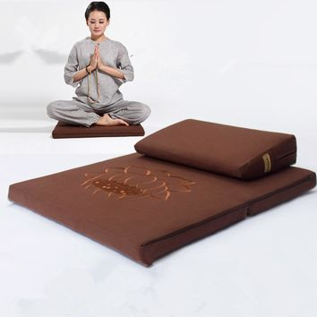 Deluxe Zafu & Zabuton 2 Piece Set - Yoga/Meditation Cushions Square 60/70/80cm Japanese Zafu Floor Cushion Lotus Meditation