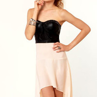The Spikes of Life Strapless Black and Cream Dress