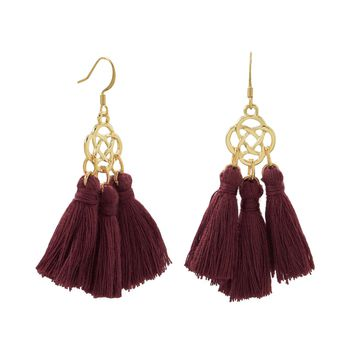 Gold Tone Fashion Earrings with Burgandy Threaded Tassels