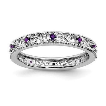 Sterling Silver Stackable Expressions Amethyst Filigree Ring