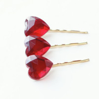 Red heart hair clips, Bobby pin set, Valentine's Day accessories, vintage glass heart rhinestones - XO