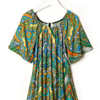 PAISLEY PATTERN PRINT OFF SHOULDER TUNIC DRESS GIRLS
