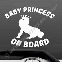 Baby Princess On Board Bumper Sticker Vinyl Decal Girl Tiara Car Truck Van Decal