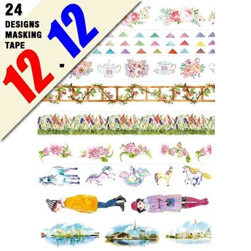 24 Designs NEW!! Flowers/Girls/Flags/Horse/Gold foil Pattern Japanese Washi Decorative Adhesive DIY Masking Paper Tape Sticker