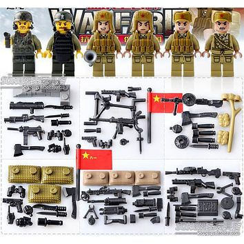 World War 2 WW2 Sino-Japanese War Chinese Eighth Route Army Military Building Block Toy figures Brick with Weapons 71008