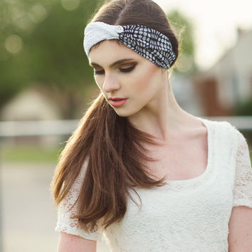 Blue and White Twisted,turban head wrap,in chiffon and lace with anchor button