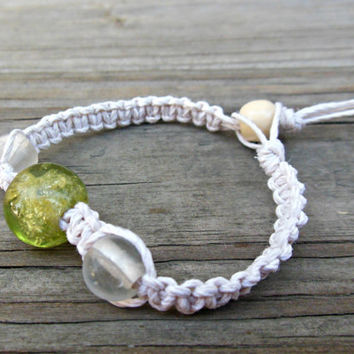White Hemp Bracelet Green / Clear Glass Bead For Women