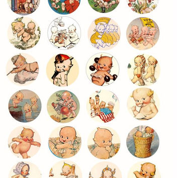 vintage kewpie baby doll clip art Collage sheet 1.5 INCH circles