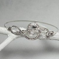 Treble Clef Wire Bangle - Silver Tone Bracelet