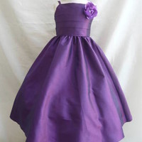 Flower Girl Modern Strap Dress Purple with  for Easter Wedding Bridesmaid