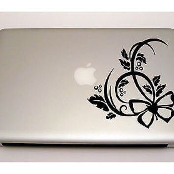MACBOOK IPAD LAPTOP VINYL STICKER DECAL CUSTOM SIZE FLOWERS FLORAL DESIGN T393