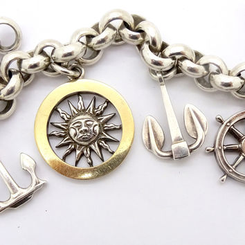 GUCCI NAUTICAL CHARM BRACELET Sterling Silver 18k Gold Sun Anchor Ships Wheel