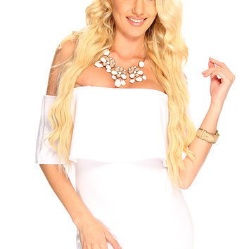 White Strapless Short Sleeves Bodycon Sexy Party Clubwear Dress