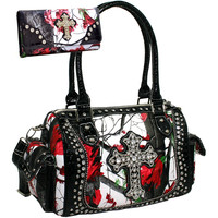 Studded Western Camo Cross Satchel and Wallet Set