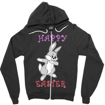 dabbing bunny happy easter Zipper Hoodie