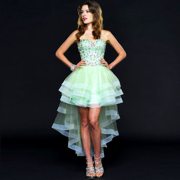 Shiny Tiered Organza Strapless Beaded Rhinestone Mint Green High Low Cocktail Dress 2016 robe de cocktail