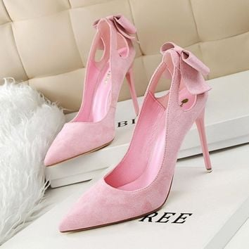 Women's high-heels wonderful with bows at Heel - Free Shipping