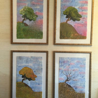 Tree paintings custom order 4 seasonal impressionist landscape paintings watercolor batik on Japanese rice paper Summer Spring Fall Winter