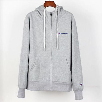Champion Autumn And Winter New Fashion Bust Embroidery Letter Sports Leisure Hooded Long Sleeve Coat Gray