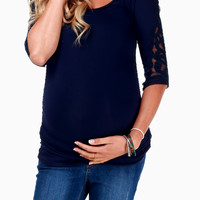 Navy Blue Crochet Sleeve Maternity Top