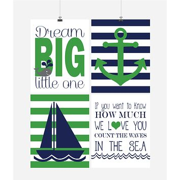 Nautical Nursery Decor Set of 4 Art Prints in Navy and Green, Dream Big Little One