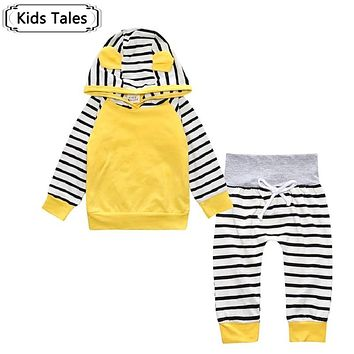 Infant Boys Girls Striped Clothes Tops Sweatshirt With Hoodies T-shirt+Cotton Pants 2 pcs.Costume newborn kid clothing setsSY198