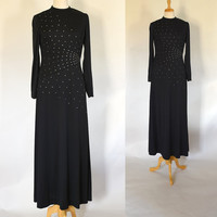 70s Dress / 70s Maxi Dress / 70s Formal Dress / Black Sequined Dress / Long Dress / LBD / Evening Dress / Party Dress