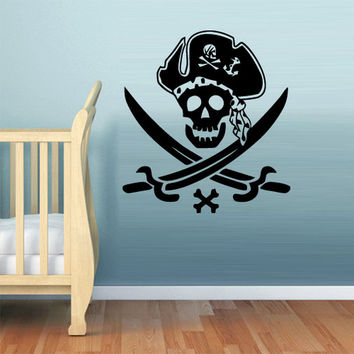 rvz1126 Wall Decal Vinyl Sticker Decor Art Bedroom Nursery Kids Baby Pirate Skull Z1126