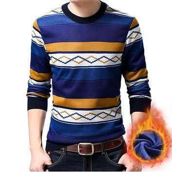 New Autumn winter Thick Warm O-neck long sleeve sweater men Striped knit casual Pullover sweaters 14 pattern L650