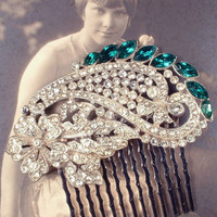 1920s OOAK Emerald Green & Clear Rhinestone Hair Comb, Antique Art Deco Pave Dress Clip to Oval Bridal Headpiece Gatsby Wedding Accessory
