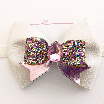 Girls White and pink Leather Sparkly Bow Headband / Baby Jeweled Headband / Pink and white Headband / Spring Bow Hair Accessory / White Bow