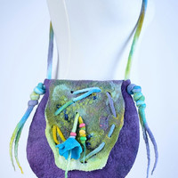 Purple & green, gorgeous felt purse with turquoise bellflower - fancy, fiber art, floral, designer bag - wool, flower shoulder bag [T21]