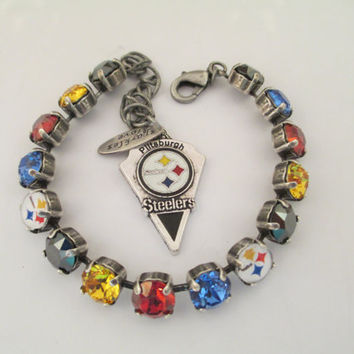 Swarovski crystal bracelet, 8mm, STEELERS GAME DAY, black, gold,red, blue,fan jewelry, pittsburgh fan, designer inspired, high quality