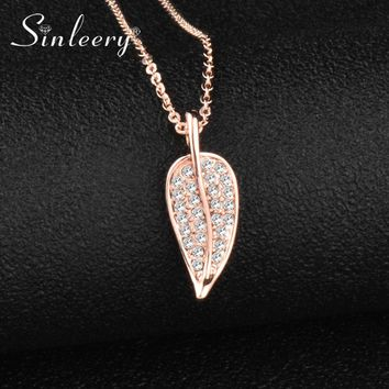 new stylish Charm Full Clear Cubic Zirconia Leaf Pendant Necklace