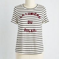 French Mid-length Short Sleeves Daytime Testimonial Top