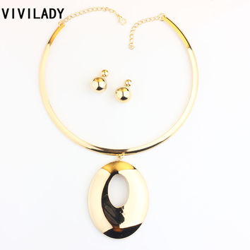 VIVILADY Trendy Chunky Oval Alloy Pendants Jewelry Sets Women Mother Gold Plated Torques African Necklaces Earrings Bridal Gifts