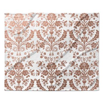 "KESS Original ""Baroque Rose Gold"" Abstract Floral Fleece Throw Blanket"
