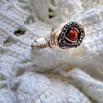 Sterling Silver Ring, Wire Wrapped Eye Ring, Brecciated Red Jasper and Metallic Black Japanese Glass Seed Beads, Custom Rings SSR003