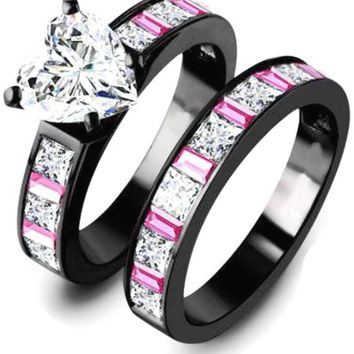 Classic Victoria Wieck Wedding Engagement Bride Ring 10K Black Gold Pink Baguette CZ Heart Diamond Beautiful